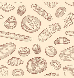 seamless pattern with different breads and backed vector image