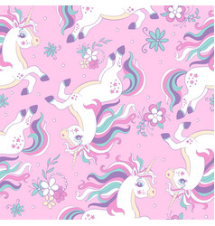 Seamless pattern with dreaming unicorns vector