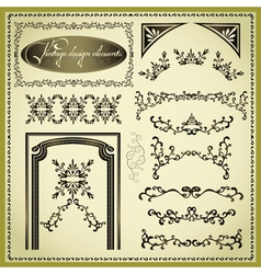 set decorative design elements vintage vector image