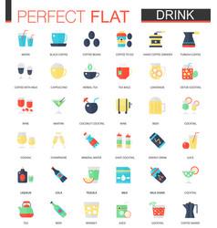 set flat tea coffee alcohol drinks vector image