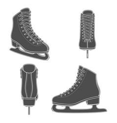 set images with skates for figure skating vector image