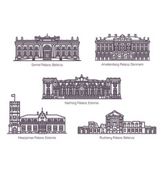 set isolated historical landmarks or palace vector image