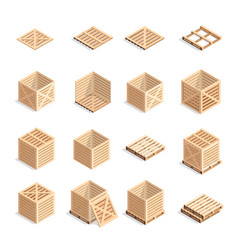 set isometric wooden boxes and pallets vector image