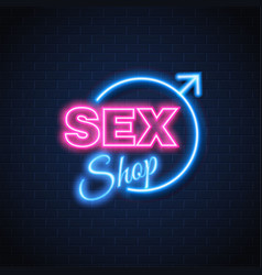 Sex shop neon sign gender woman symbol vector