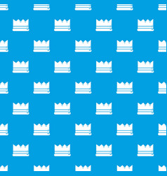 Silver crown pattern seamless blue vector