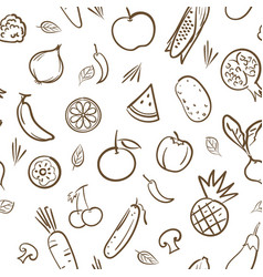 sketch cute mix fruits and vegetables seamless vector image