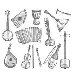 Sketch icons of musical instruments vector