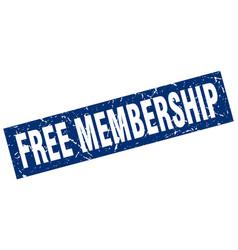 Square grunge blue free membership stamp vector