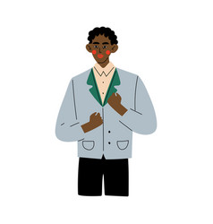 successful african american man celebrating vector image