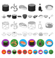 Sushi and seasoning flat icons in set collection vector