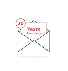thin line 20 years anniversary logo like open vector image