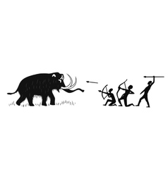 tribal people hunting for mammoth vector image
