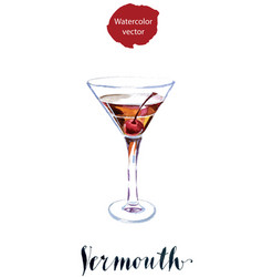 Vermouth with cherry vector