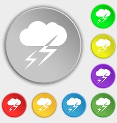 Weather icon sign Symbol on eight flat buttons vector