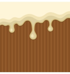 White melted chocolate streams background vector