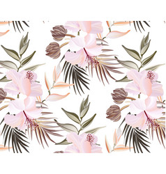wild flower hibiscus bloom palm leaves exotic vector image