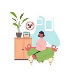 Woman sitting lotus pose digital detox offline vector