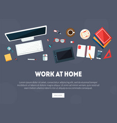 work at home banner business workspace workplace vector image