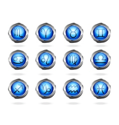 Zodiac astrology signs button set vector image