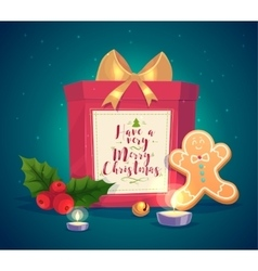 Composition with gift candles and vector image