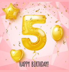 Five birthday greeting card on shiny pink vector