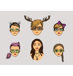 girls heads in hipster style vector image vector image