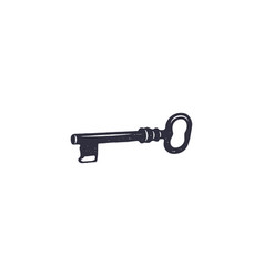 Old key icon silhouette design black pictogram vector