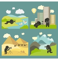 photographer shooting at locations vector image