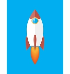 Space rocket isolated on blue vector image vector image