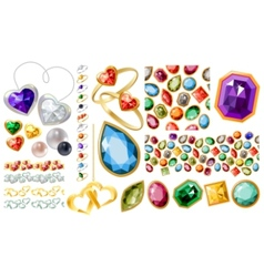 big jewellery set with gems and rings vector image vector image