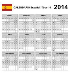 Calendar 2014 Spain Type 16 vector image