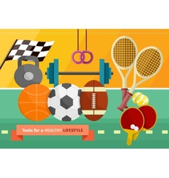 Gym with sport equipment concept vector image vector image