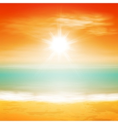 Sea sunset with bright sun vector image