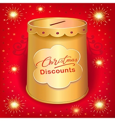 Xmas discounts holiday moneybox tin can template vector image