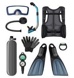 different diving equipments in black color vector image