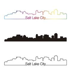 Salt Lake City skyline linear style with rainbow vector image