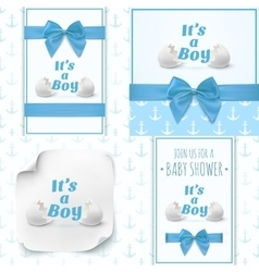 Set of four templates for baby boy shower vector image vector image