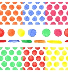 Watercolor colored polka dot seamless patternbaby vector