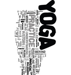 yoga history text word cloud concept vector image vector image