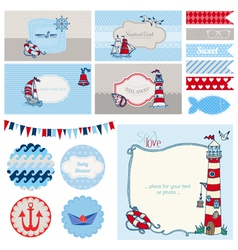 Baby Shower Nautical Set vector image vector image