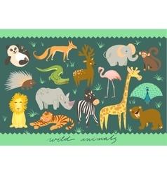 Big Set of of animal Zoo cute vector image vector image