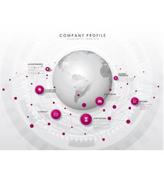 Company profile overview template with purple vector