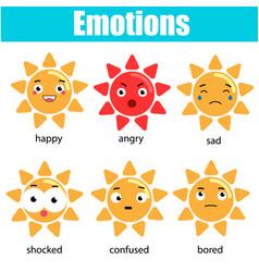 cute kawaii sun character emoji emoticons vector image vector image
