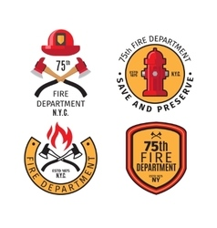 Firefighter emblems and badges vector image vector image