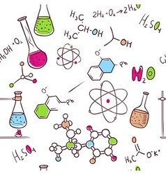 Hand draw chemistry pattern vector image