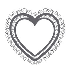 monochrome silhouette double heart with decorative vector image vector image