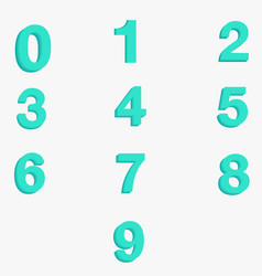 number zero to nine with thick vector image