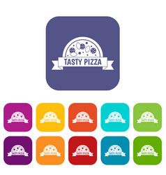tasty pizza sign icons set flat vector image vector image