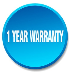 1 year warranty blue round flat isolated push vector