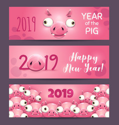 2019 year of the pig funny pink horizontal new vector